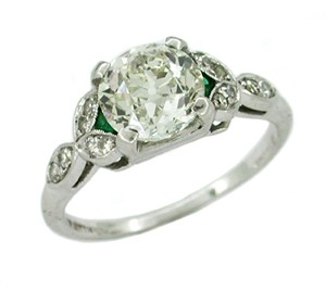 antique-diamond-and-emerald-platinum-engagement-ring-cs1