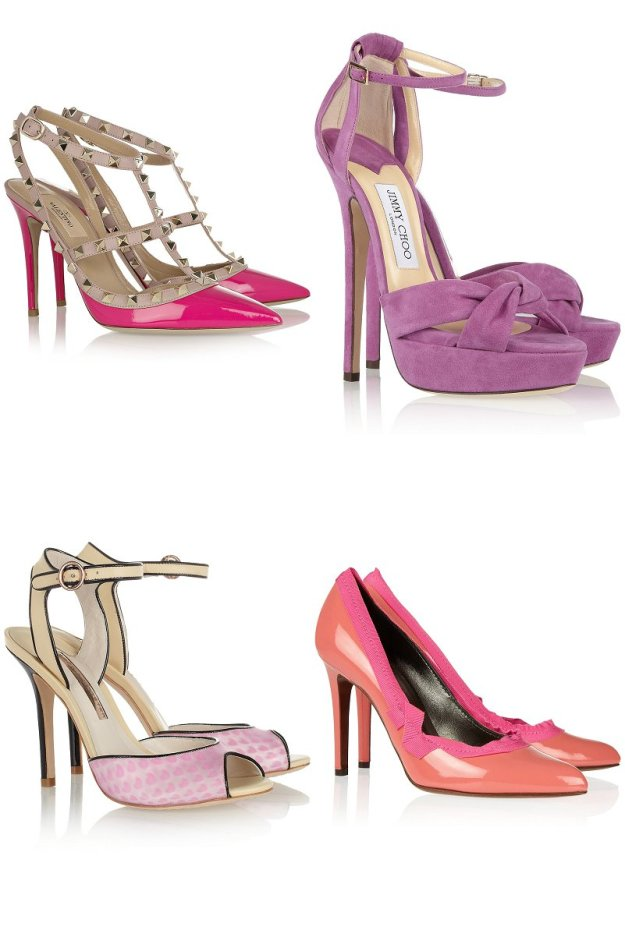 Clockwise from top L: Valentino; Jimmy Choo; Lanvin; Sophia Webster