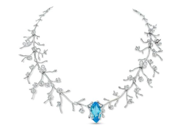 Ophelia Necklace with Diamonds & Topaz - Phioro Jewellery
